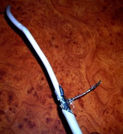 Антенна из банок. зачистка кабеля