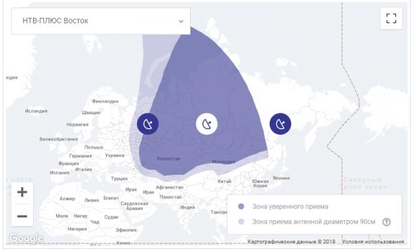 Зона покрытия спутникового ТВ НТВ Плюс на востоке России