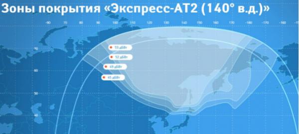 Территория покрытия спутника Триколор ТВ на Дальнем Востоке