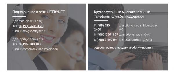 Контакты для связи с провайдером Нетбайнет