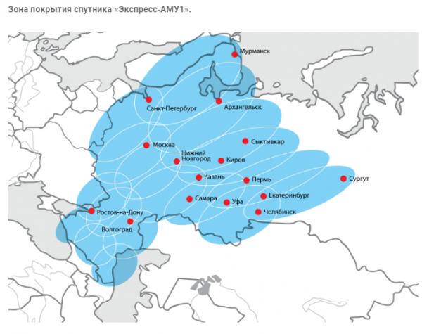 Зона покрытия спутникового интернета НТВ Плюс